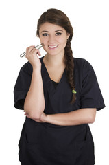 Medical young woman nurse doctor intern portrait