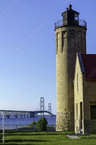 Mackinaw City Lighthouse and Mackinac Bridge
