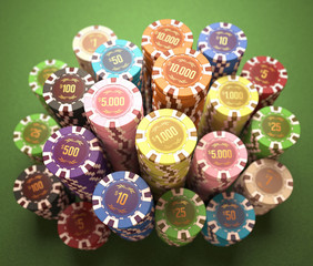 Casino chips with clipping path included.