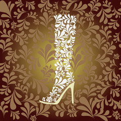 high heel boot fashion background- Illustration