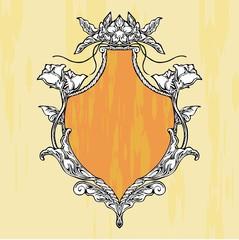 Glory Art nouveau shield vintage frame vector