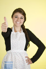 beautiful young woman chef cook baker wearing apron