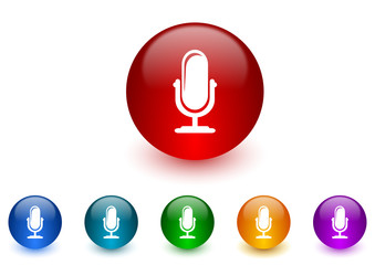 microphone internet icons colorful set