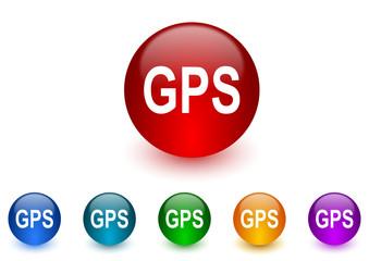 gps internet icons colorful set