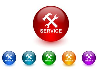 service internet icons colorful set