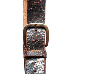 head and toe old vintage natural leather belt on white isolate