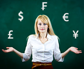 Confused, business woman uncertain about currency investment