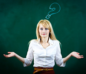 Confused, young woman shrugs shoulders on green chalkboard