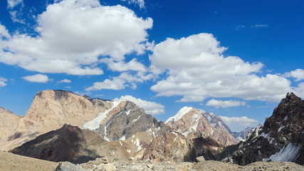 Clouds in the mountains. Time Lapse. Pamir, Tajikistan 4K