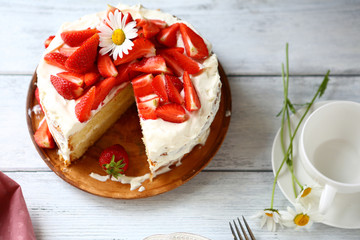 Summer strawberry cake with cream