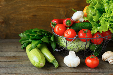 set of fresh vegetables in a basket