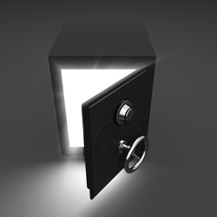 Opening safe and volume light on dark background