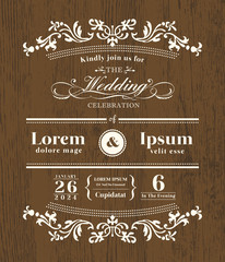 Vintage typography Wedding invitation on wooden background