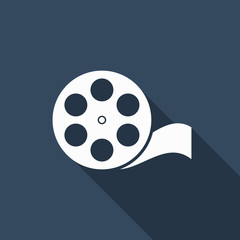 film reel icon with long shadow