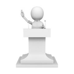white 3d man talking behind the speak stage
