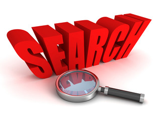 Magnifying glass with red concept search word