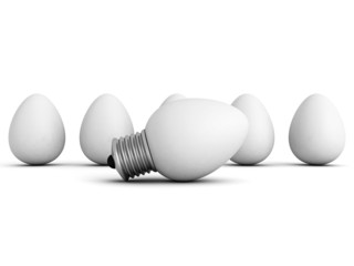 different idea light bulb lamp out from eggs crowd