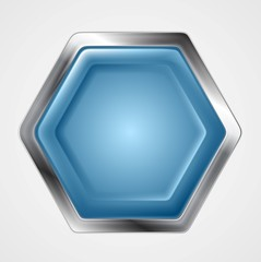 Blue and metallic hexagon shape logo