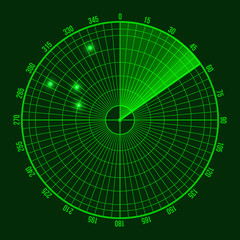 Green Radar Screen. Vector