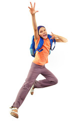 Portrait of a girl with backpack running