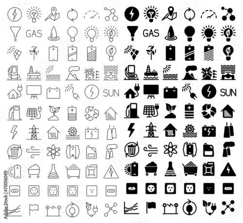 Energy and resource icon set - 70016049