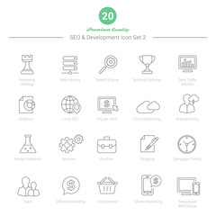 Set of Thin Line SEO and Development icons Set 2