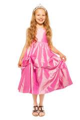 Little girl in pink dress with princess crown