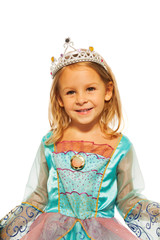Close-up of girl in princess dress with crown