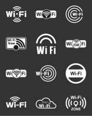 Set of twelve wifi icons