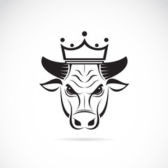 Vector image of a bull head wearing a crown