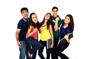 Young Indian/Asian group of people, isolated.