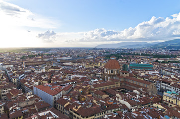 Wide bird eye view at city of Florence, Tuscany