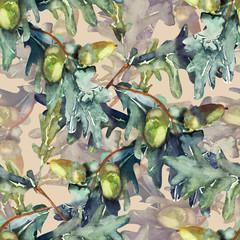 Quercus robur seamless pattern