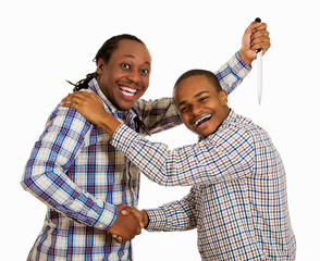 Two men fake friends, backstabbing concept on white background