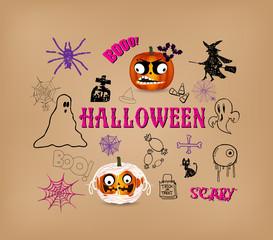 halloween hand drawn elements
