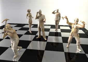 people like figures on a chessboard