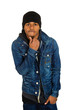 Handsome young man, posing fashion model, dressed in jeans