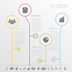 Circle timeline infographics design template with icons