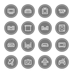Home Appliance web icons, grey circle buttons