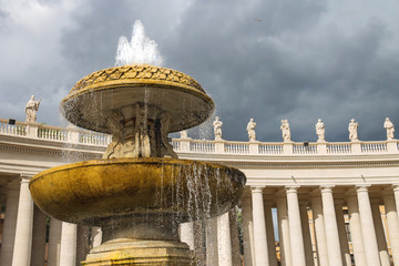 Fountain in St. Peter's Square at the Vatican. Rome, Italy