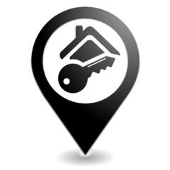 clef de maison sur symbole localisation noir