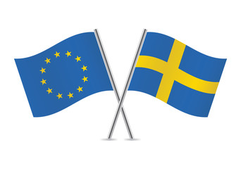 European Union and Swedish flags. Vector illustration.