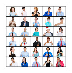 Group of people giving thumbs up isolated on white background