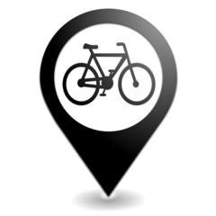 vélo sur symbole localisation noir