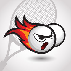 flaming tennis ball with angry face, cartoon vector illustration