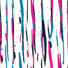 Seamless watercolor pattern with colorful vertical stripes. Vect