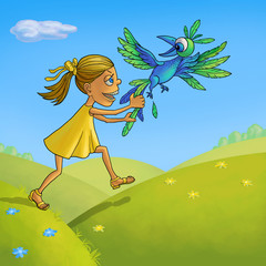 Girl catches the blue bird of happiness