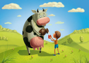Cow and boy on the meadow.