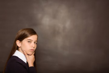 Thinking pupil looking at camera