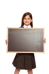 Cute pupil showing chalk board